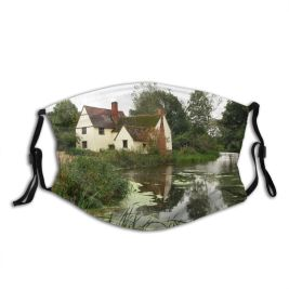 yanfind John Mill Tree Willy Cottage Waterway Flatford River Stour River Lott Landscape Dust Washable Reusable Filter and Reusable Mouth Warm Windproof Cotton Face