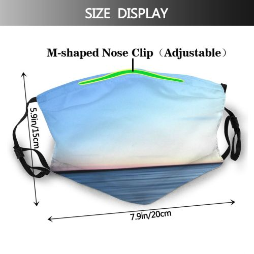yanfind Waves Blur Sea Sky Horizon Ocean Calm Seaside Sound Daytime Sea Dust Washable Reusable Filter and Reusable Mouth Warm Windproof Cotton Face