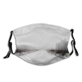 yanfind Country Snowdrift Frozen Powder Tranquility Rural Scene Snow Snowcapped Treelined Way Diminishing Dust Washable Reusable Filter and Reusable Mouth Warm Windproof Cotton Face