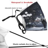 yanfind Capital Cities Montréal Night Snow City Exterior Building Season Canada Snowflake Lighting Dust Washable Reusable Filter and Reusable Mouth Warm Windproof Cotton Face