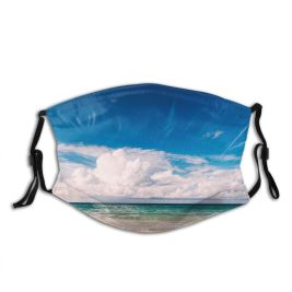 yanfind Idyllic Tropical Shore Relaxation Sea Clouds Beach Island Contrails Outdoors Sky Summer Dust Washable Reusable Filter and Reusable Mouth Warm Windproof Cotton Face