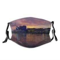 yanfind Cloud Waterway Willemstad Sunset Sky Reflection Horizon Morning River Curacao Evening Dusk Dust Washable Reusable Filter and Reusable Mouth Warm Windproof Cotton Face