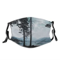 yanfind Idyllic Fair Lake Calm Pine Forest Clouds Branches Tranquil Scenery Mountains Trees Dust Washable Reusable Filter and Reusable Mouth Warm Windproof Cotton Face