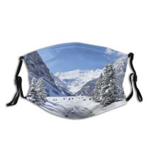 yanfind Ice Louise America Range Landscape Frozen Banff Rocky Snow Place Alberta Mountains Dust Washable Reusable Filter and Reusable Mouth Warm Windproof Cotton Face
