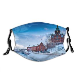 yanfind Capital Cities Waterfront Frozen Helsinki Fashioned Cathedral Built Snow City Architecture Space Dust Washable Reusable Filter and Reusable Mouth Warm Windproof Cotton Face