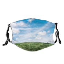 yanfind Idyllic Pasture Earth Park Field Clouds Mac Free Grass Meadow Desktop Horizon Dust Washable Reusable Filter and Reusable Mouth Warm Windproof Cotton Face
