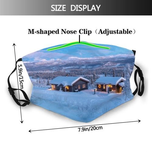 yanfind Cabin Landscape Tree Snow Norway Sky Agricultural Scenics Mountain Temperature Outdoors Scenery Dust Washable Reusable Filter and Reusable Mouth Warm Windproof Cotton Face