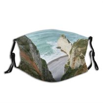 yanfind Exploration Europe Normandy Dramatic Maritime Grass Landscape France Seine Tranquility Coastline Rural Dust Washable Reusable Filter and Reusable Mouth Warm Windproof Cotton Face