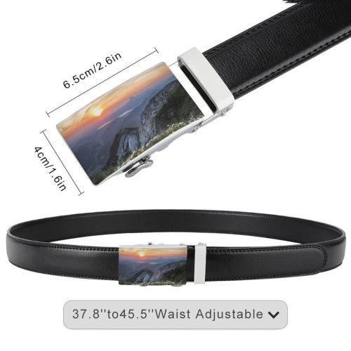 yanfind Belt Beautiful Afterglow Flowers Scenery Clouds Sunset Landscape Mountains Sight  Peaceful Sunrise Men's Dress Casual Every Day Reversible Leather Belt