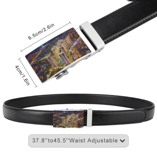 yanfind Belt Beautiful City Buildingss Illuminated Lights Cityscape Evening Building Architecture High Exterior Aerial Men's Dress Casual Every Day Reversible Leather Belt