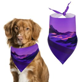 yanfind Pet Scarf Lake Mountains Rocks Twilight Sunset Starry Sky Purple Scenery MacOS Big Sur Pet Outfit Kerchiefs Accessories for Small to Large Dogs Cats