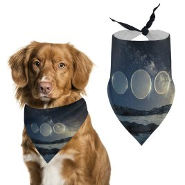 yanfind Pet Scarf Karan Gujar Seashore Dusk Circles Starry Sky Sunset Fusion Pet Outfit Kerchiefs Accessories for Small to Large Dogs Cats