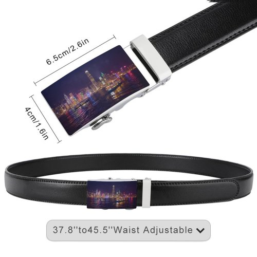 yanfind Belt Beautiful City Illuminated Lights Office Evening Motorboats Buildings Watercrafts Boat Urban River Men's Dress Casual Every Day Reversible Leather Belt