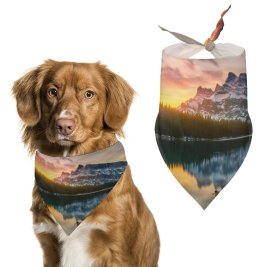 yanfind Pet Scarf Lake Banff National Park Alberta Canada Sunrise Boat Reflection Glacier Mountains Snow Pet Outfit Kerchiefs Accessories for Small to Large Dogs Cats