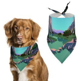 yanfind Pet Scarf Lake Mountains Rocks Evening Scenery MacOS Big Sur IOS Pet Outfit Kerchiefs Accessories for Small to Large Dogs Cats