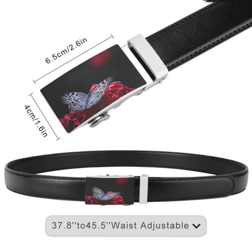 yanfind Belt Beautiful Butterfly Delicate Flowers Wild Insect  Moth Iphone Wildlife Monarch Garden Men's Dress Casual Every Day Reversible Leather Belt