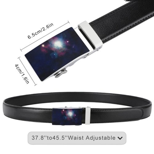 yanfind Belt Beautiful Astrology Astrophotography Evening Milky Space Galaxy Cosmos Celestial Stellar Astronomy Starry Men's Dress Casual Every Day Reversible Leather Belt