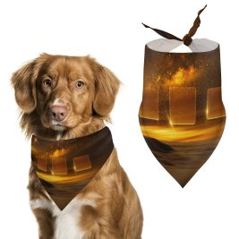 yanfind Pet Scarf Karan Gujar Desert Nebula Milky Way Starry Sky Astronomical Squares Dark Dusk Pet Outfit Kerchiefs Accessories for Small to Large Dogs Cats