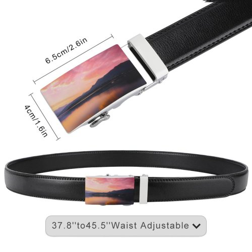 yanfind Belt Beautiful Clouds Placid Sunset Landscape Mountains Evening Travel Hdr Boat Outdoors Scenic Men's Dress Casual Every Day Reversible Leather Belt