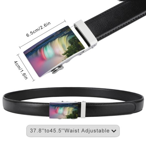 yanfind Belt Beautiful City Time Flowing Niagara Lapse Rainbow Landscape Waterfalls Travel Colorful Falls Men's Dress Casual Every Day Reversible Leather Belt