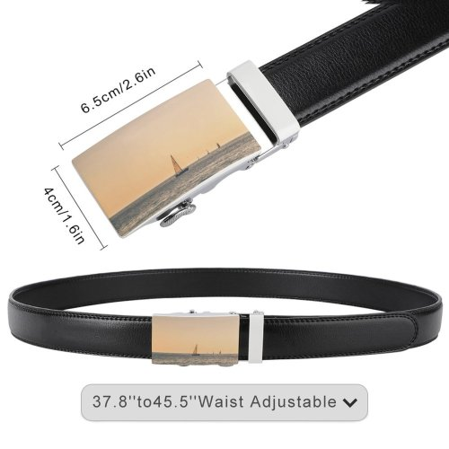 yanfind Belt Beach Ripples Boat Transportation Outdoors Scenic Dawn Vehicle Sailboat Sea Seascape Watercraft Men's Dress Casual Every Day Reversible Leather Belt