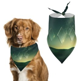 yanfind Pet Scarf Karan Gujar Starry Sky Sunset Nebula Landscape Fusion Diamond Shapes Illusion Pet Outfit Kerchiefs Accessories for Small to Large Dogs Cats