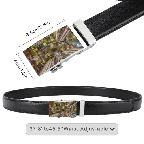 yanfind Belt Beautiful City Buildingss Illuminated Lights Downtown Evening Buildings Building Architecture High Exterior Men's Dress Casual Every Day Reversible Leather Belt