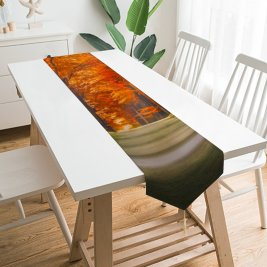 Yanfind Table Runner Hmetosche Forest Path Trunks Trees Woods Autumn Leaves Road Sun Rays Everyday Dining Wedding Party Holiday Home Decor