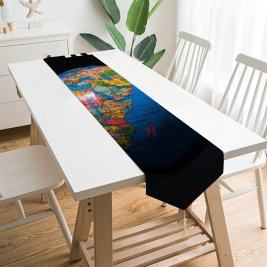 Yanfind Table Runner Jernej Furman Quotes Stay Home Stop COVID Globe Earth Everyday Dining Wedding Party Holiday Home Decor
