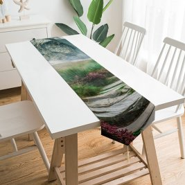 Yanfind Table Runner Alexandra Gruber Mountains Path Hill Spring Landscape Scenery Stone Staircase Everyday Dining Wedding Party Holiday Home Decor