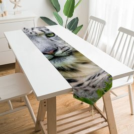 Yanfind Table Runner Tambako Jaguar Snow Leopard Grass Big Cat Wild Predator Carnivore Stare Everyday Dining Wedding Party Holiday Home Decor