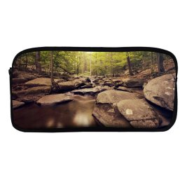 yanfind Pencil Case YHO Forest Trees Woods  Greenery Rocks Scenic Landscape Exposure Zipper Pens Pouch Bag for Student Office School