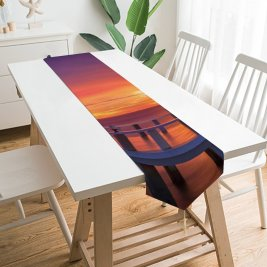 Yanfind Table Runner Anek Suwannaphoom Wooden Pier Bridge Sunset Horizon Resort Dawn Vacation Sea Holidays Everyday Dining Wedding Party Holiday Home Decor