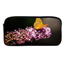yanfind Pencil Case YHO Flowers Fritillaries Butterfly Flowers Selective Focus  Closeup Zipper Pens Pouch Bag for Student Office School