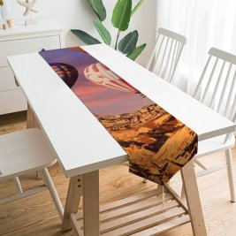 Yanfind Table Runner Talip ÇETİN Hot Air Balloons Cappadocia Golden Hour Rock Formations Town Tourist Everyday Dining Wedding Party Holiday Home Decor