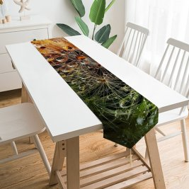 Yanfind Table Runner Anja Flowers Dandelion Macro Dew Drops Colorful Bokeh Everyday Dining Wedding Party Holiday Home Decor