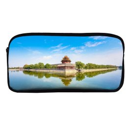 yanfind Pencil Case YHO Forbidden City Beijing China Imperial Palace Ming Dynasty UNESCO Heritage Reflection Sky Zipper Pens Pouch Bag for Student Office School