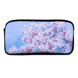 yanfind Pencil Case YHO Flowers Magnolia Tulips Flowers Spring Beautiful Zipper Pens Pouch Bag for Student Office School