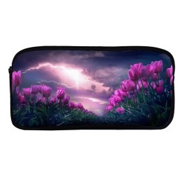yanfind Pencil Case YHO Flowers Flowers Path Thunderstorm Dark Sky Zipper Pens Pouch Bag for Student Office School