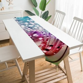Yanfind Table Runner Anthony Poynton Flowers Dandelion Multicolor Colorful Drops Everyday Dining Wedding Party Holiday Home Decor