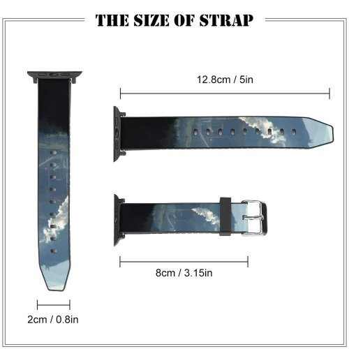 yanfind Watch Strap for Apple Watch Pollution Factory Smog Landscape  Hill Mountainous Landforms Sky Range Highland Atmospheric Compatible with iWatch Series 5 4 3 2 1