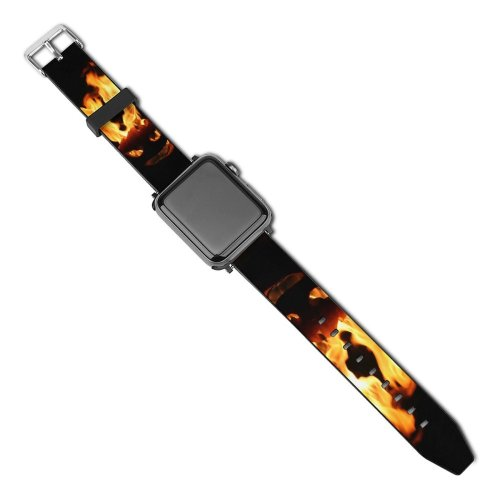 yanfind Watch Strap for Apple Watch Pumpkin Halloween Fire Scary Spooky Flame Heat Gas Still  Darkness Compatible with iWatch Series 5 4 3 2 1