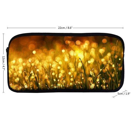 yanfind Pencil Case YHO  Grass Hayfield Field Glitter Light Luminescence Morning Garden Raindrops Dawn Bokeh Zipper Pens Pouch Bag for Student Office School