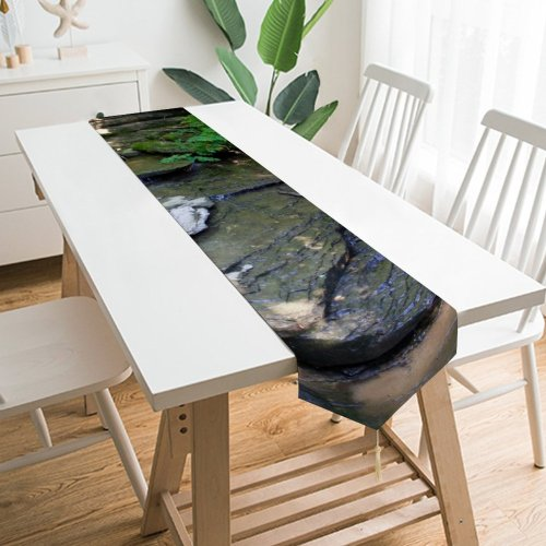 Yanfind Table Runner Stream Brook Creek River Stone Bed Trees Woods Forest Wilderness Resources Watercourse Everyday Dining Wedding Party Holiday Home Decor