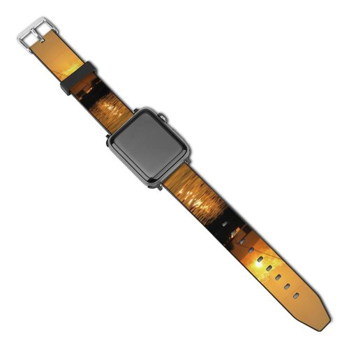 yanfind Watch Strap for Apple Watch Road Sea Could Sunset  Beach Love Hot Ocean Tropic Fischer City Compatible with iWatch Series 5 4 3 2 1