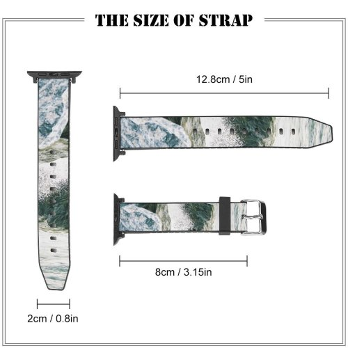 yanfind Watch Strap for Apple Watch Ocean   Storm Wind  Rock Sea Wave Coast Shore Coastal Compatible with iWatch Series 5 4 3 2 1