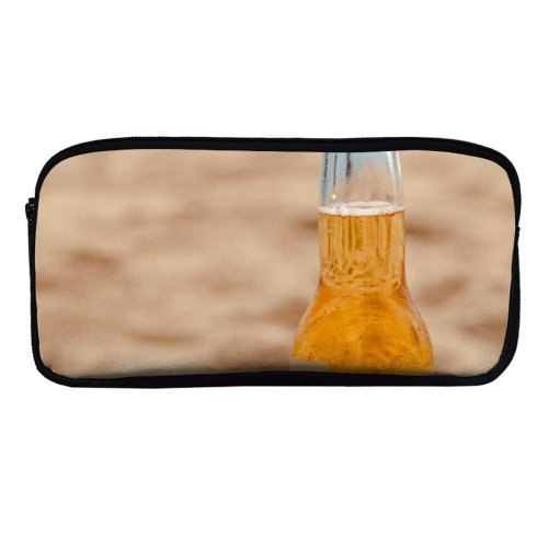 yanfind Pencil Case YHO  Golden Sand Liquor Travel Beer Beach Alcohol Glass Lime Outdoors Seashore Zipper Pens Pouch Bag for Student Office School
