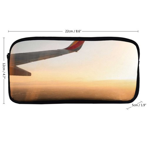 yanfind Pencil Case YHO  Golden Airplane Sunset Window Aircraft Landscape Plane Daylight Travel Light Zipper Pens Pouch Bag for Student Office School