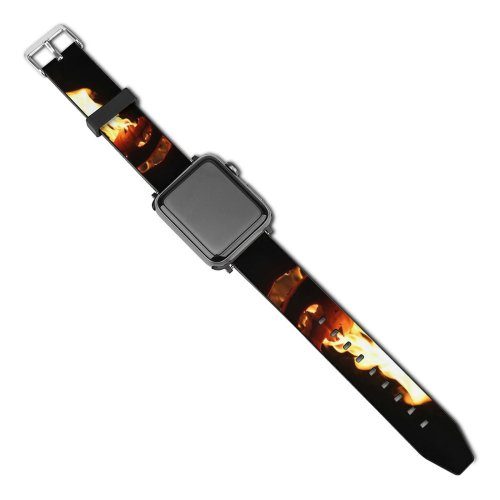 yanfind Watch Strap for Apple Watch Pumpkin Halloween Fire Scary Spooky Flame Heat Gas Compatible with iWatch Series 5 4 3 2 1