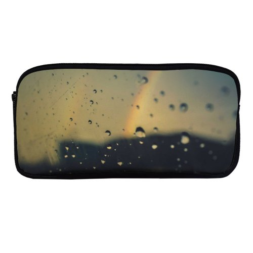 yanfind Pencil Case YHO  H Rainbow Window Waterdrops  Droplets Glass  O Raindrops Liquid Zipper Pens Pouch Bag for Student Office School